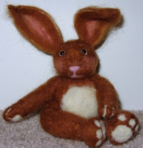 Needle Felted Brown and White Rabbit