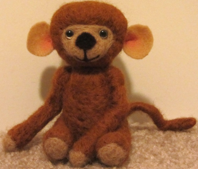Needle Felted Brown Monkey