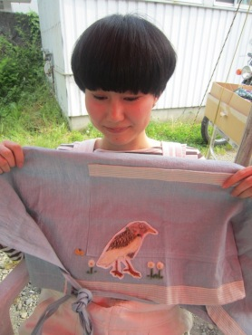 Needle Felting Applique Workshop Felting Bird on Apron
