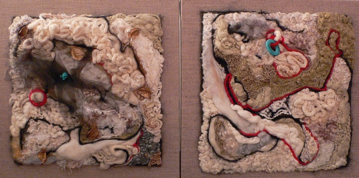 Vibrant Needle Felted Wool Art- Diptych