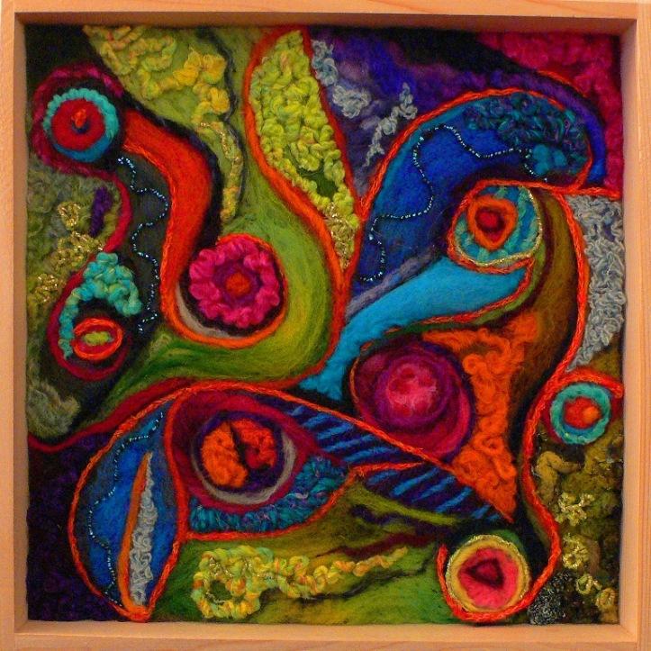 Vibrant Needle Felted Wool Art- Tango Fusion