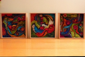 Vibrant Needle Felted Wool Art- Tango Fusin Triptych