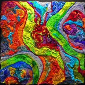 Vibrant Needle Felted Wool Art- The Links