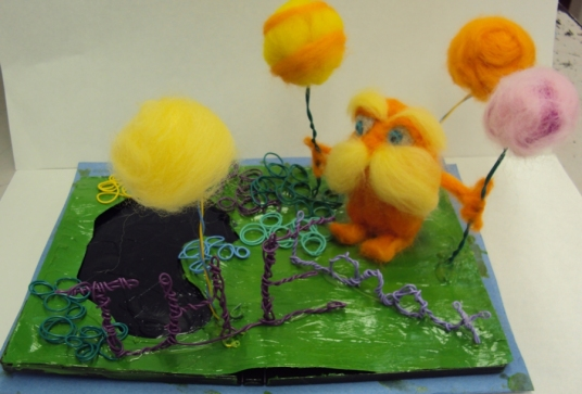 Needle Felted Lorax Scene by High School Student