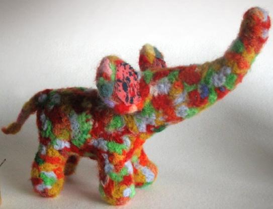 Multicolor Needle felted elephant