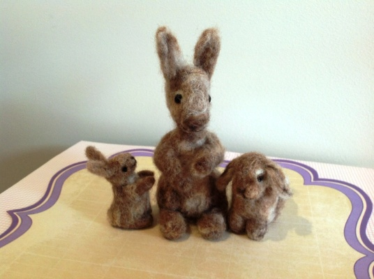 Needle Felted Brown Bunny Family