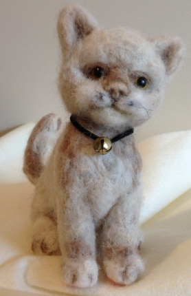 Tan Needle Felted Cat with Bell