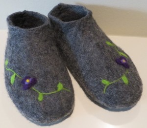 Wet and needle felted grey slippers