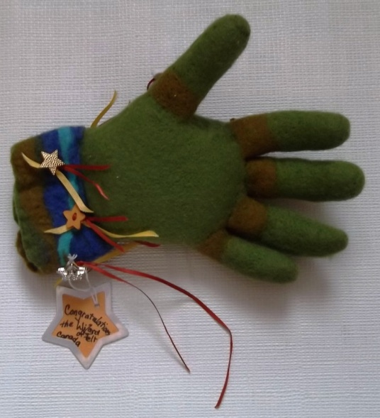 Needle Felted Green Hand