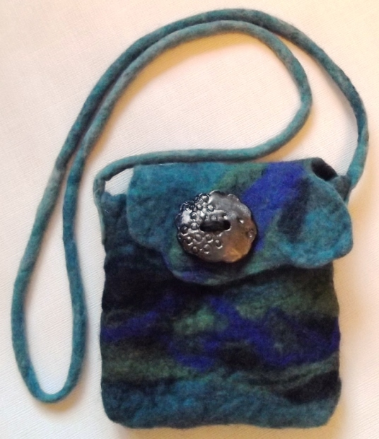 Wet Felted Purse green and blue with clay button