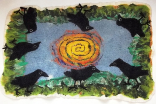 Needle and Wet Felted Sunny Day Crows Floor Mat
