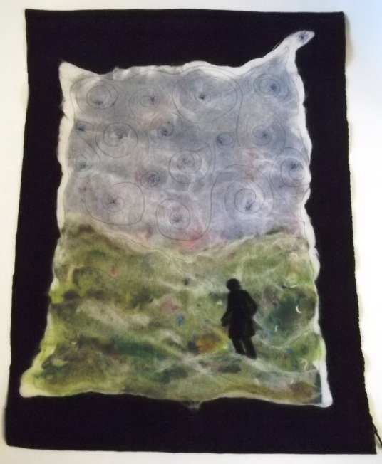 Needle and Wet Felted Walk orf Emotions Floor Mat