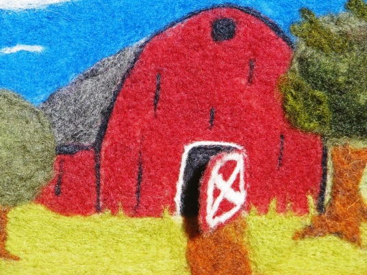 Needle Felted Barn Wall Hanging With Opening Door