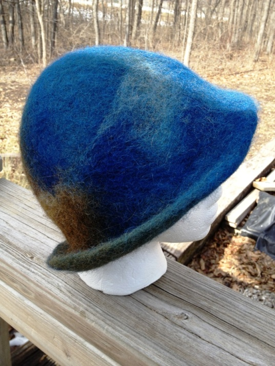 Wet Felted Blue and Brown Hat with Brim