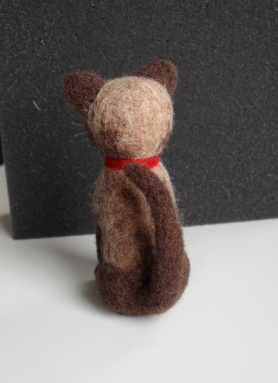 Needle felted small siamese cat named Jaques