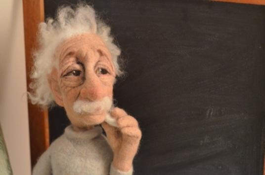 Needle Felted Einstein Doll