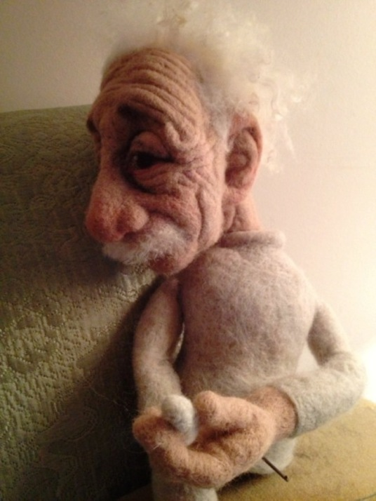 Needle Felted Einstein Doll In Progress