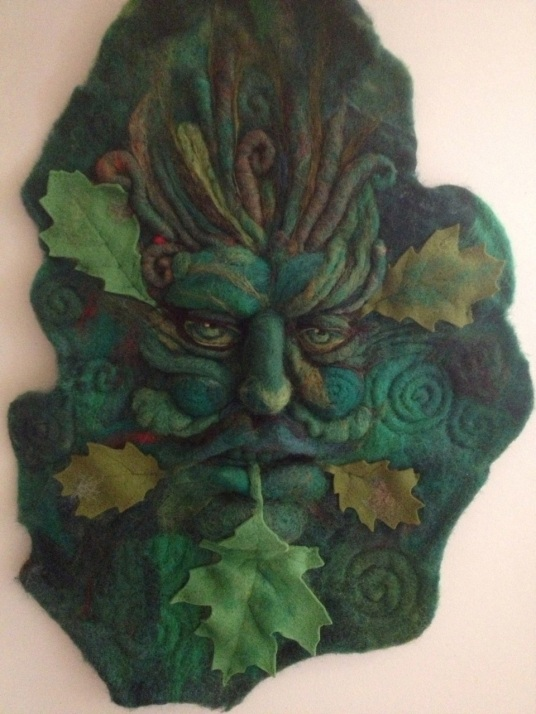 Needle Felted Leaf God of Nature Portrait Wall Hanging