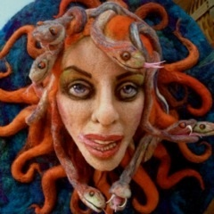 Needle Felted Medusa Wall Hanging