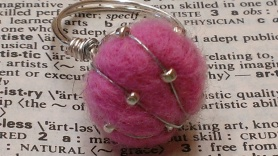 Pink and Silver Needle Felted Ring