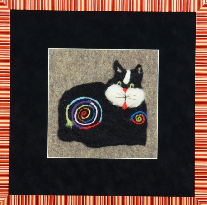 Whimsical Needle Felted Cat Wall Hanging