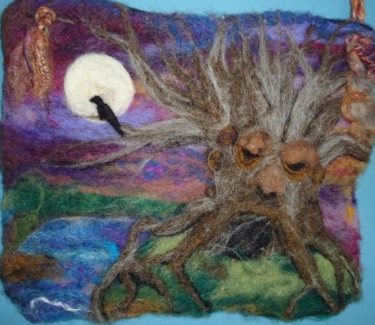 Tree Spirit Wall Hanging with Bird at Night