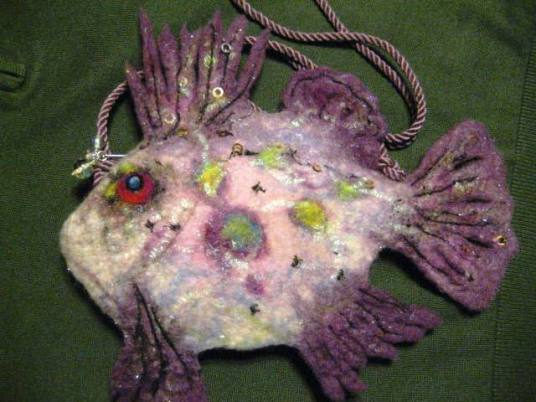Needle and Wet Felted Fish Purse