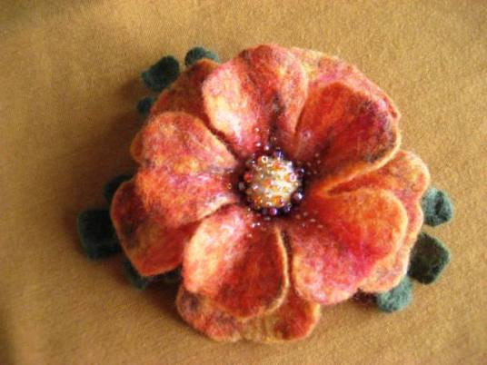 Wet Felted White and Pink Flower