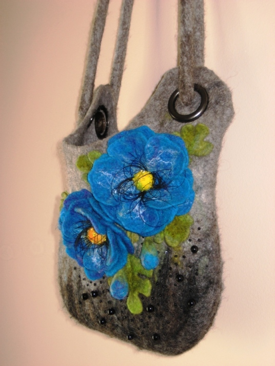 Needle and Wet Felted Gray Purse with Blue Flowers