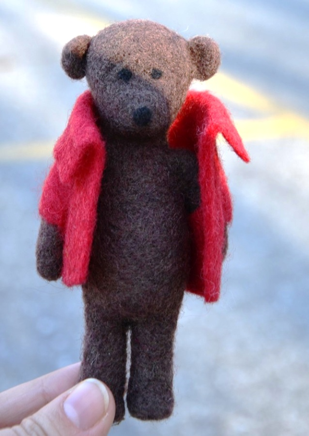Needle and Wet Felted Bear with Removable Jacket