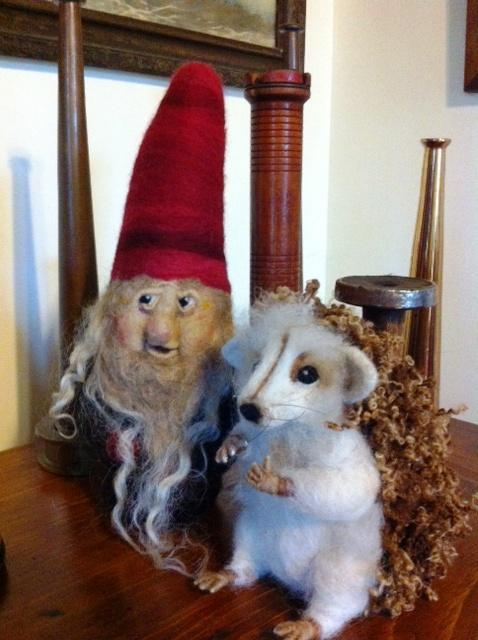 Miss Tiggy Winkle The Needle Felted Hedgehog and Gnome