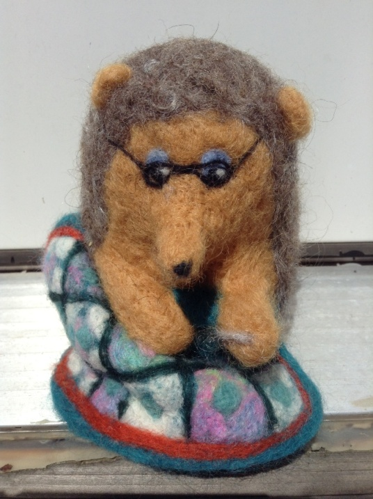 Needle Felted Quilting Hedgehog Wearing Glasses