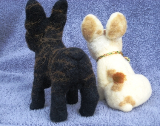 Needle Felted Black and White French Bulldogs