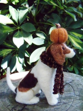 Sweet Annie, the Needle Felted Brown and White Dog with Pumpkin