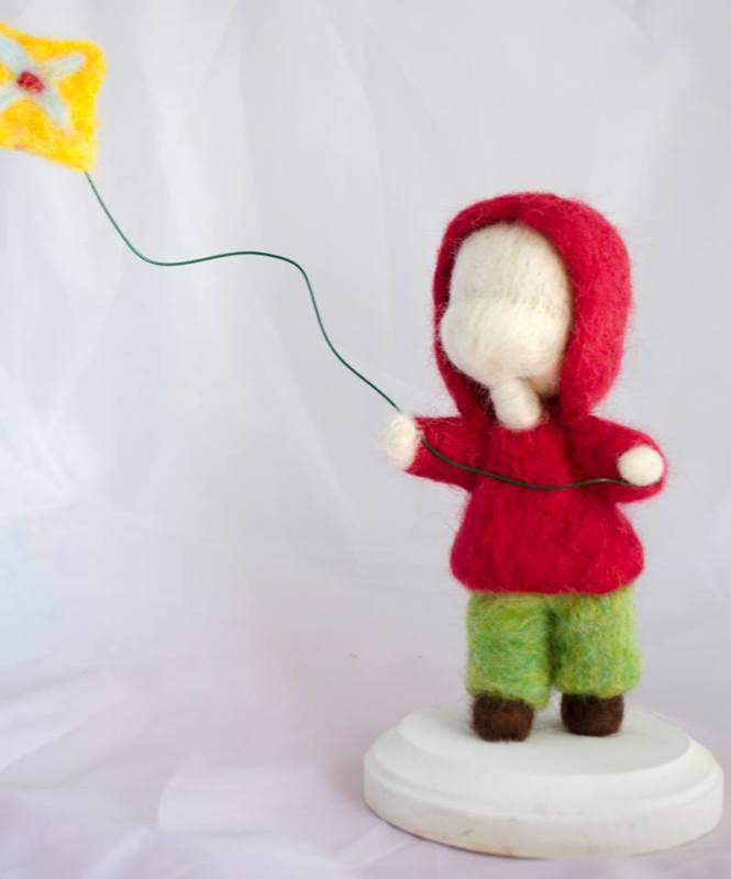 Needle Felted Doll with Balloon