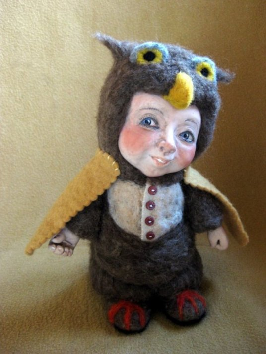 Needle felted owlet doll