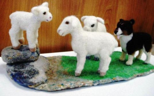 Needle Felted Dog herding Sheep