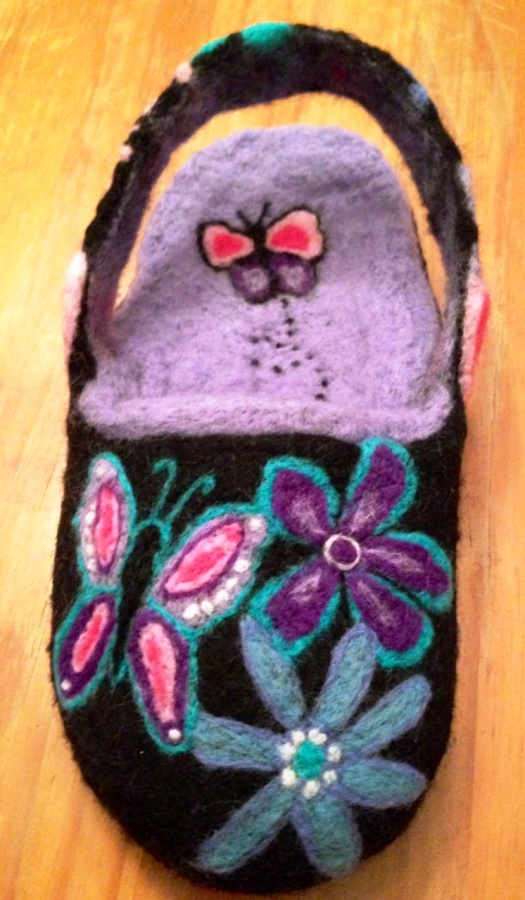 Black and Purple Butterfly and Flower Needle and Wet Felted Slippers
