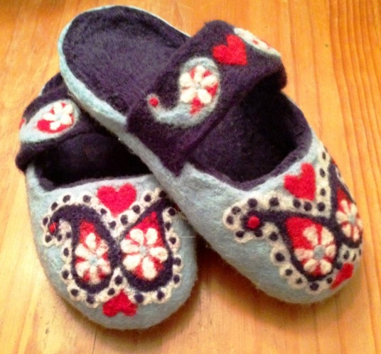Blue and Red Paisley Wet and Needle Felted Slippers
