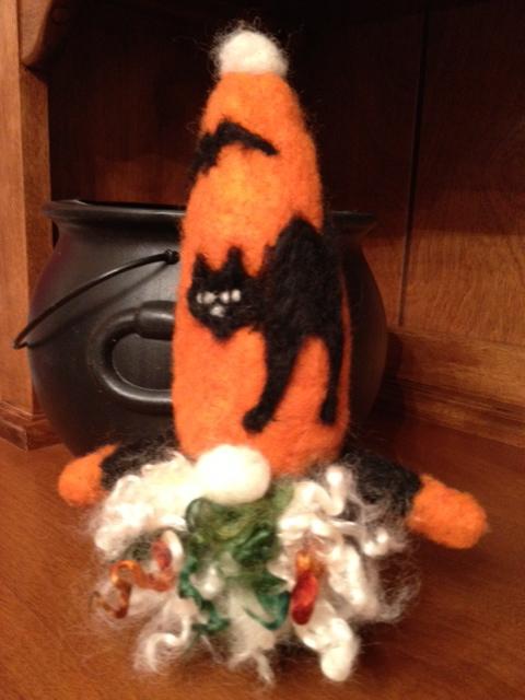Needle Felted Halloween Gnome
