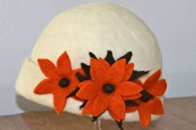 Wet Felted White and Autumn Flowers Hat