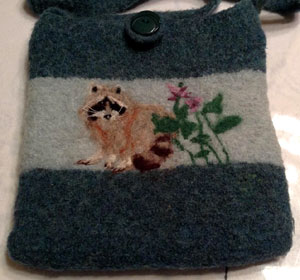 Needle felted design on knitted and fulled purse