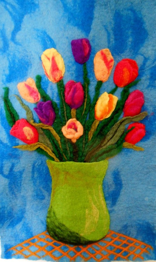 Wet and Needle Felted Tulips Wallhanging