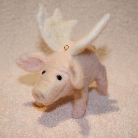 Needle Felted Flying Pig