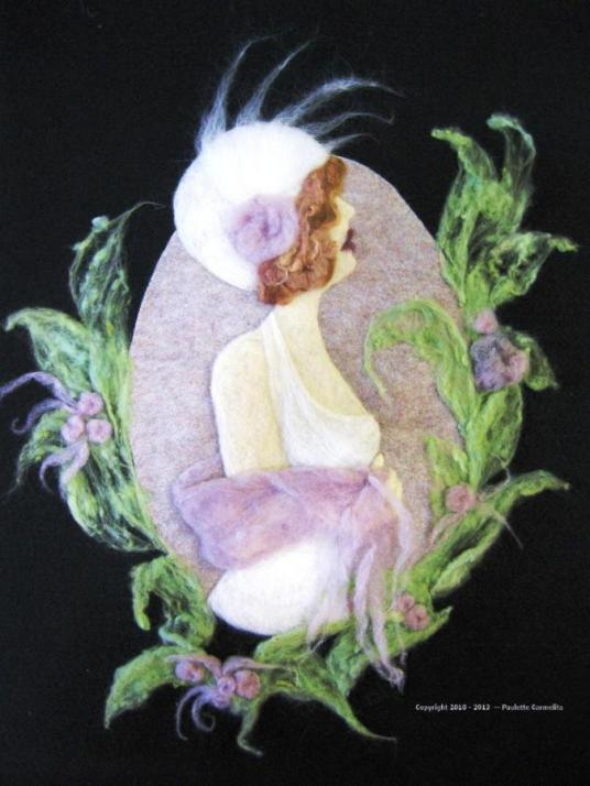 Lavender Love needle felted artwork wallhanging