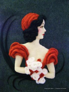 Lillian Hill needle felted artwork wallhanging