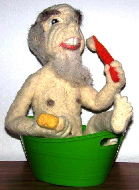 Needle Felted Billy Bob Taking a Bath