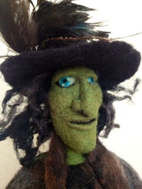 needle felted witch green face