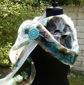 Blue and Brown Wet Nuno Felted Scarf