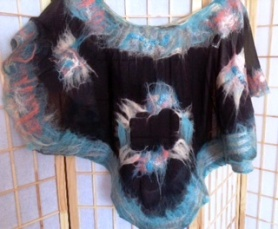 Black teal and pink Wet Nuno Felted Scarf shawl